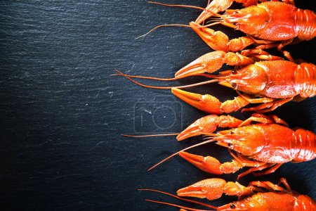 Top view of red boiled crayfish with spices on stone slate