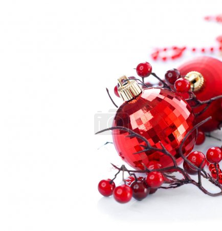 Christmas red decorations isolated on white background