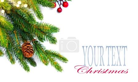 Decorated Christmas tree branches isolated on white, with space for text