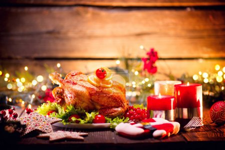 Holiday roasted turkey for Christmas dinner on blurred background