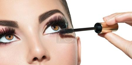 Close view of long lashes and mascara on eyes