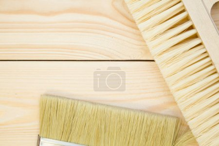 Tools for repair on light wooden background