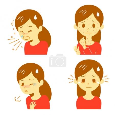 Illustration for Allergic reactions, allergic symptoms, vector file - Royalty Free Image