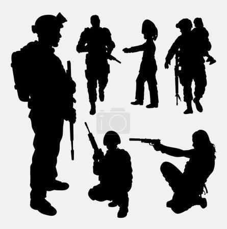 Illustration pour Soldat, militaire, sécurité, silhouette masculine et féminine. Bon usage pour le symbole, logo, icône web, mascotte, élément de jeu, conception d'autocollant, signe, ou tout design que vous voulez. Facile à utiliser . - image libre de droit