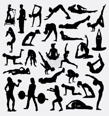 Illustration pour Fitness, gymnastique, pilates silhouette sportive. Activité de formation masculine et féminine. Bon usage pour le symbole, logo, icône web, mascotte, signe, conception, autocollant, ou tout autre design que vous voulez . - image libre de droit