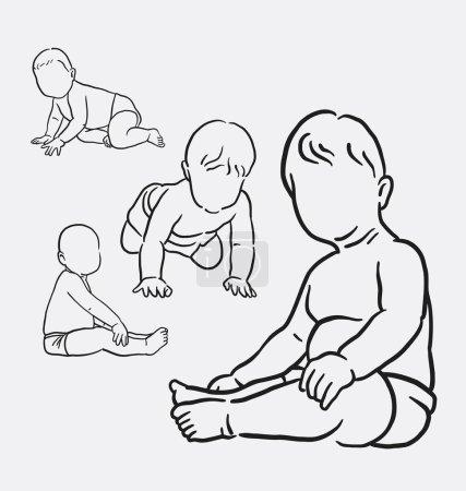 Illustration pour Activité bébé dessin à la main. bon usage pour le symbole, logo, icône web, mascotte, autocollant, signe, ou tout autre design que vous voulez . - image libre de droit