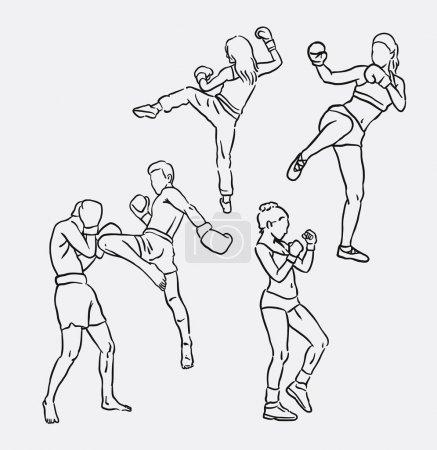 Illustration pour Thaï boxe sport dessin à la main. Bon usage pour le symbole, logo, icône web, mascotte, signe, autocollant, ou tout autre design que vous voulez . - image libre de droit