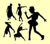 Dancing man and women action silhouette