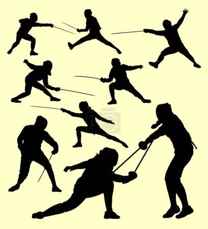 Illustration pour Silhouette sportive d'escrime. Bon usage pour le symbole, logo, icône web, mascotte, signe, autocollant, ou tout autre design que vous voulez - image libre de droit
