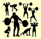 Fitness gymnastic body building weightlifting sport silhouette Good use for symbol logo web icon mascot sign sticker or any design you want