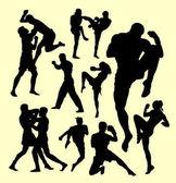 Muay thai action sport silhouette