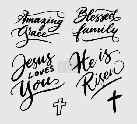 Illustration pour Étonnante famille bénie, Jésus t'aime typographie écriture. Bon usage pour le logotype, le symbole, l'étiquette de couverture, le produit, la marque, le titre de l'affiche ou toute conception graphique que vous voulez. Facile à utiliser ou changer de couleur - image libre de droit