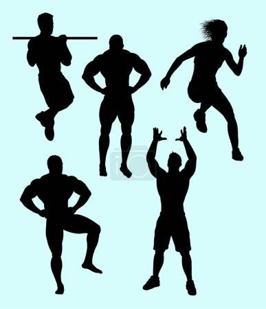 Illustration pour Silhouette de musculation et action sportive. Bon usage pour le symbole, logo, icône web, mascotte, signe, autocollant, ou tout autre design que vous voulez - image libre de droit