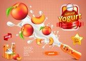 Peach yogurt ads Bottle explosion vector background