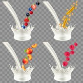Pouring milk splash with fruits and cereals 3d realistic vector set