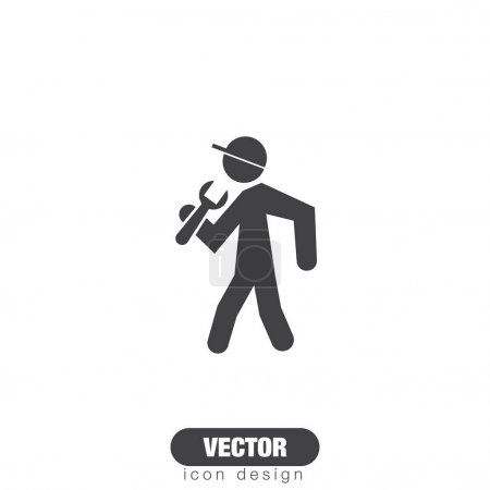 worker with wrench icon