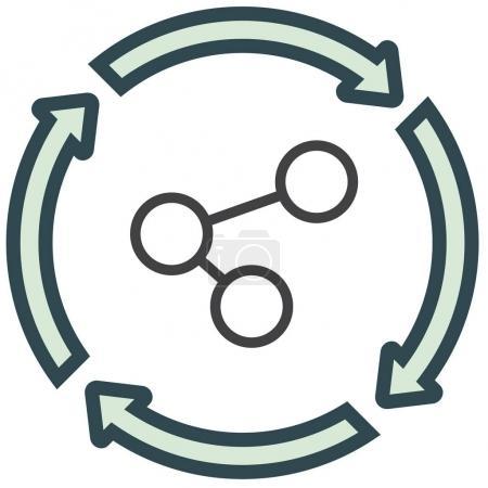 Social media data transfer symbol.
