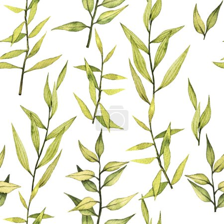 Photo for Watercolor seamless background with realistic green leaves - Royalty Free Image