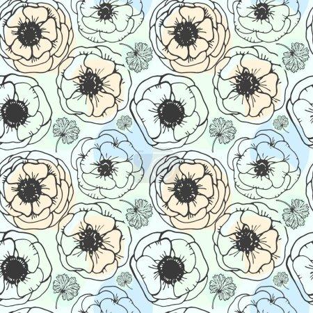 Illustration pour Image vectorielle graphique, artistique et stylisée d'un motif sans couture avec anémones de fleurs - image libre de droit