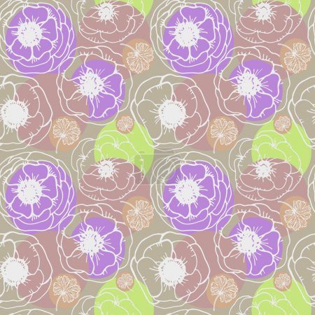 Illustration pour Image vectorielle graphique, artistique, stylisée du motif sans couture avec anémone de fleurs - image libre de droit