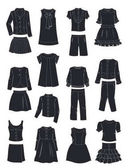Silhouettes of school clothes for girls isolated on white background
