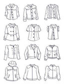 Contours of jackets for girls different modelsclassiccasual and sport styles isolated on white background