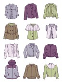 Jackets for girls different modelsclassiccasual and sport styles isolated on white background There are greengray purple and white colour clothing