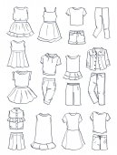 Contours of summer clothes for girlsdresses skirts pants etc isolated on white background
