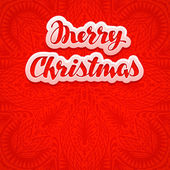 Beautiful text lettering Merry Christmas red color background Greeting card vector