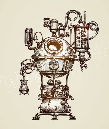 Vintage distillation apparatus sketch. Moonshining vector illustration