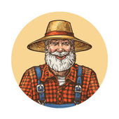 Smiling farmer in straw hat Gardener or beekeeper vector illustration