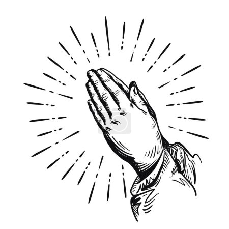 Prayer. Sketch praying hands. Vector illustration isolated on white background