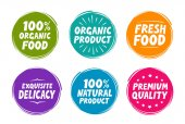 Collection symbols such as natural and organic product fresh food exquisite delicacy premium quality