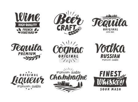 Alcoholic drink. Collection lettering, labels for menu design restaurant or bar