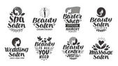 Vector set beauty salon labels logos and icons Lettering Spa Barber shop Wedding Massage