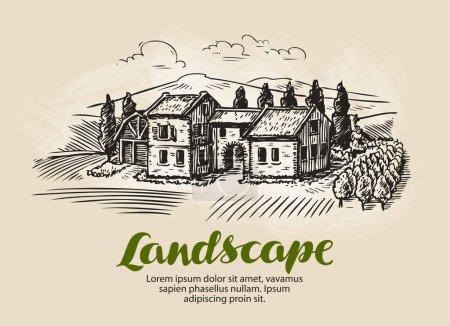 Country house, building sketch. Vintage rural land...