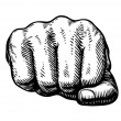 Fist, hand gesture sketch. Punch symbol. Vector il...