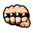 Clenched fist, knuckle duster. Gangster, thug, ban...