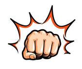 Hand fist punching or hitting Comic pop art symbol Vector illustration