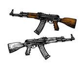 Weaponry armament symbol Automatic machine AK 47 Kalashnikov assault rifle sketch Vector illustration