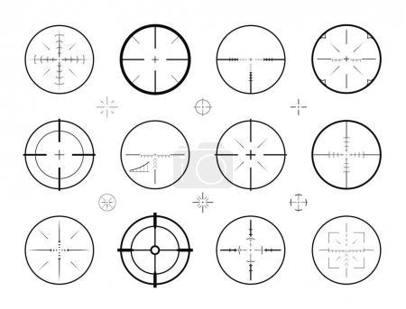 Target, sight sniper set of icons. Hunting, rifle scope, crosshair symbol. Vector illustration