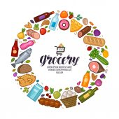 Grocery store banner Food drinks set icons Vector illustration