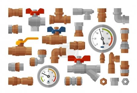 Sanitary engineering, plumbing equipment set icons. Manometer pressure, meter, industry, fittings, water supply concept. Vector illustration