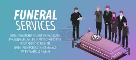 Illustration for Funeral services banner. Burial, cemetery, graveyard death concept Vector illustration - Royalty Free Image