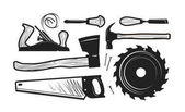 Carpentry joinery icons Set of tools such as axe hacksaw hammer planer disc circular saw cutters Vector illustration