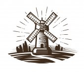 Windmill mill logo or label Farm agriculture bakery bread icon Vintage vector illustration