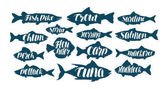 Fish collection labels or logos Seafood food fishing angling set icons