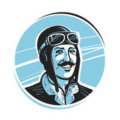 Portrait of happy pilot in cap Aviator airman label or logo Mascot vector illustration isolated on white background