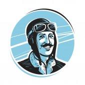 Portrait of happy pilot in cap Aviator airman label or logo Mascot vector illustration