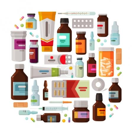 Illustration for Medicine concept. Drug, medication set of icons. Vector illustration isolated on white background - Royalty Free Image